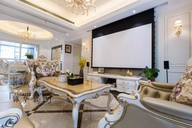 轻奢欧式电视机背景墙效果图