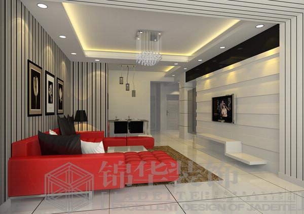 锦华装饰海安公司装修图片-三室两厅装修效果图-现代