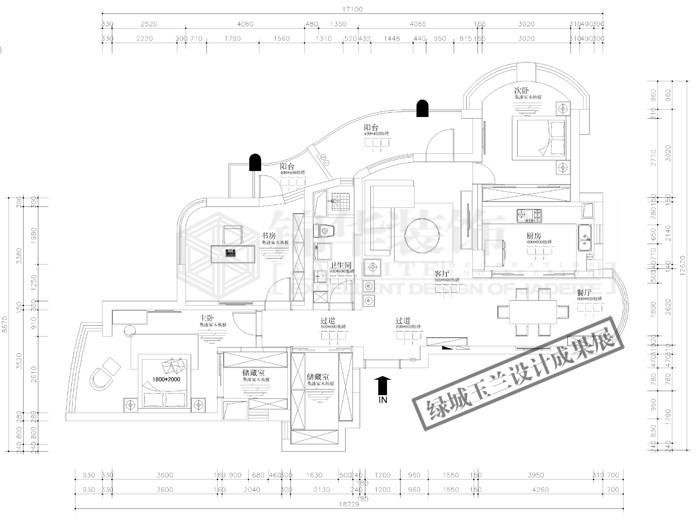绿城玉兰公寓3-1303,1304两套打通户型 平面布置图