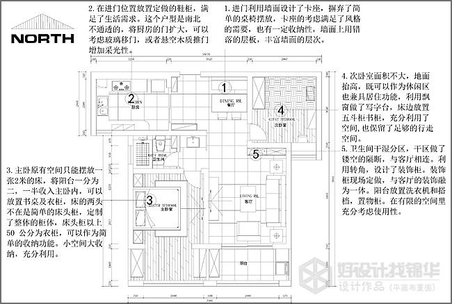 桂花小镇89平米户型解析-装修设计方案-南通锦华装饰